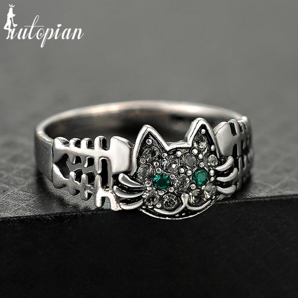 cat and bone silver ring