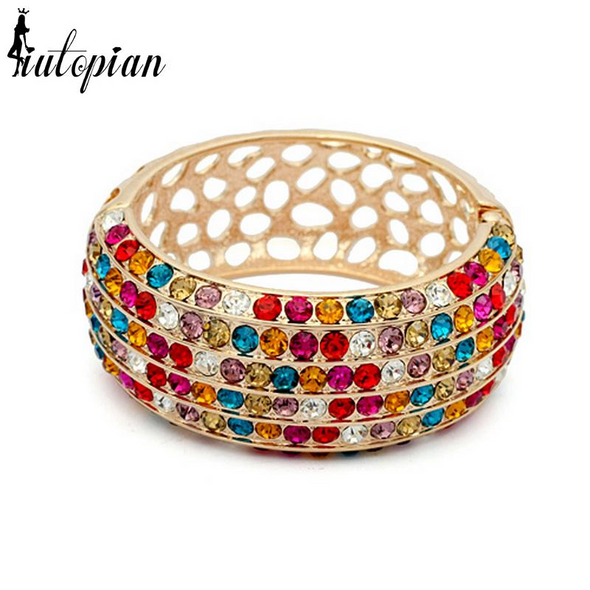 colorful wide gold bangle