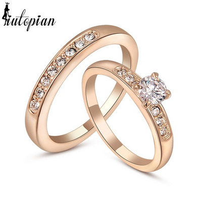 diamond double ring in gold