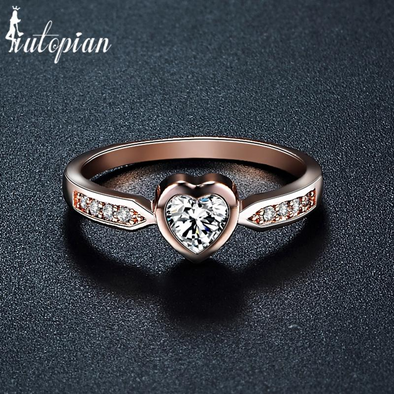 heart diamond rose gold ring