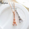 Eiffel tower pendant necklace in gold or silver with diamonds