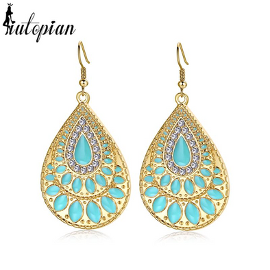 flat turquoise enamel tear drop earrings