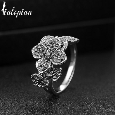 vintage flower diamond silver ring black