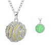 glow in the dark necklace with a ball pendant and diamonds