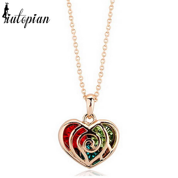 heart pendant with multi colored crystals gold necklace