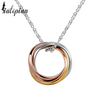 infinity ring tri color pendant necklace