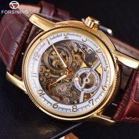 Forsining Transparent Skeleton Men's Watch with Leather Strap