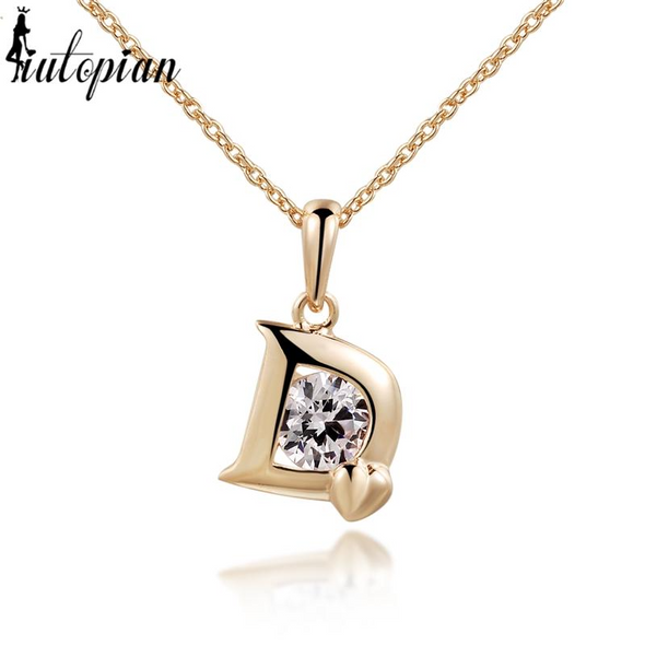 letter D with crystal 18k gold and rosegold necklace