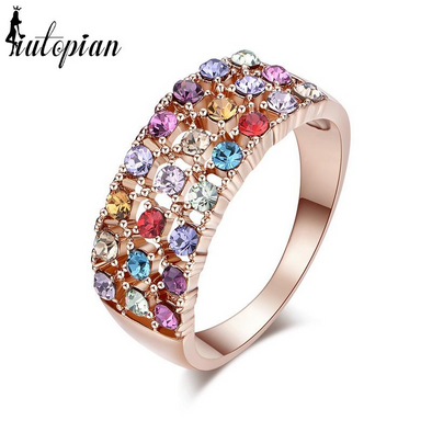 multi colored gemstone rose gold ring