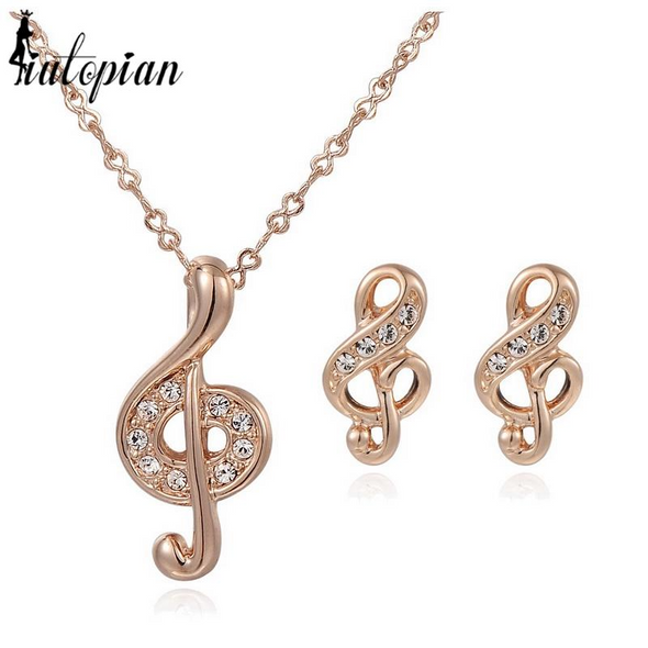 musical note diamond gold necklace and earrings set