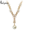 pearl flower diamond gold necklace