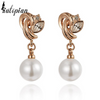 pearl gold drop earrings with diamond