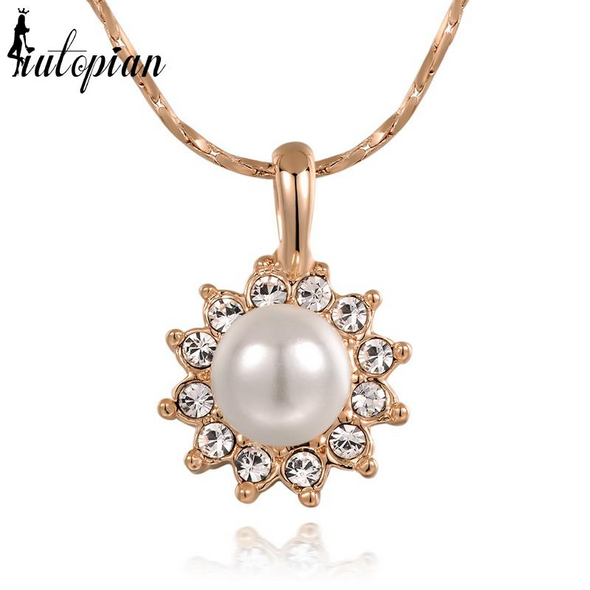 pearl sun pendant gold necklace with stones