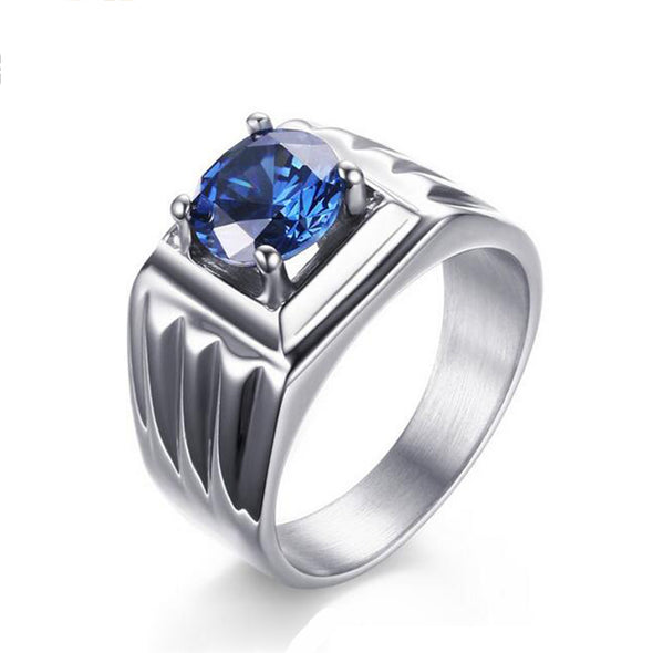 Titanium Jewelry Ring Blue Stone