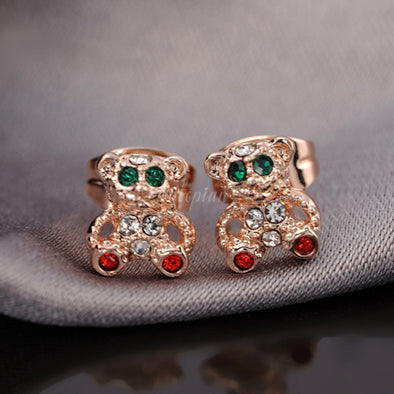 bear studded gold earrings with stones