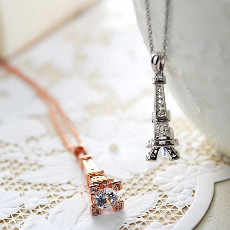 Eiffel tower necklace with diamond iutopia eiffel tower necklace with diamond mozeypictures Image collections