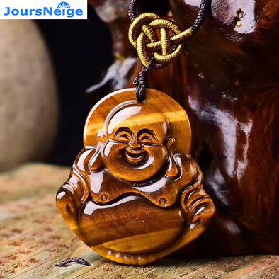 Natural Gems energy Stone Yellow Laughing Buddha Pendant Necklace