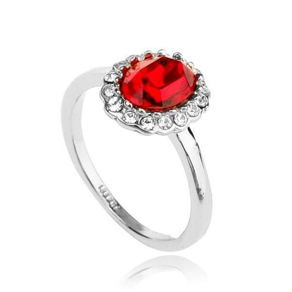 Classic Red Stone Silver Ring