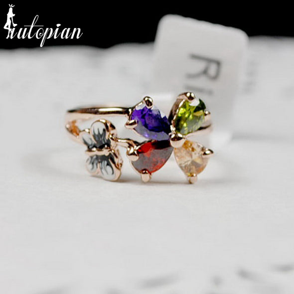 Rigant Austria Crystal Ring/class ring /wedding jewelry/flower/candy ring With Austrian Crystal Stellux