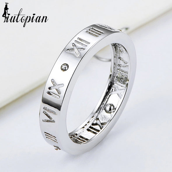 Simple Style Rings for Women Alphabet Notewith Rhinestone