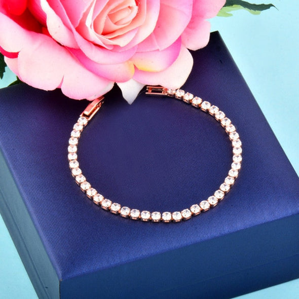 Sterling Silver Rose Gold Plated  Cubic Zirconia Bracelet