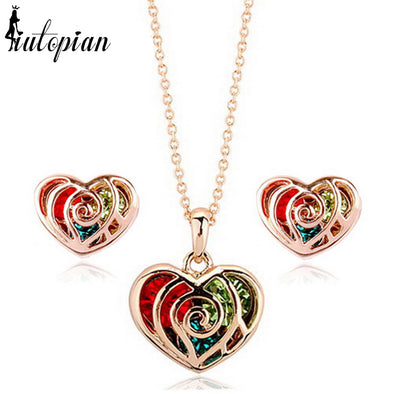 Heart Ribbon Jewelry Set with Multi-Colored Gems
