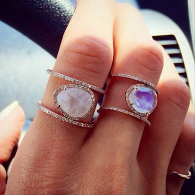 Stylish Chic moonstone full finger ring