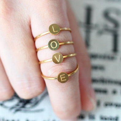 steel letter finger rings for women  set wedding love couple