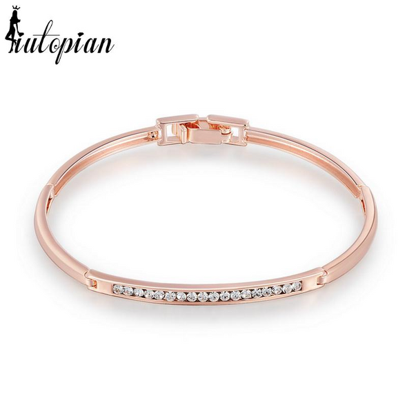 thin rose gold bangle with diamonds