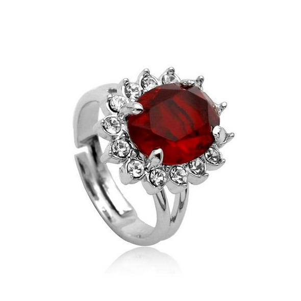 ruby diamond silver white gold ring