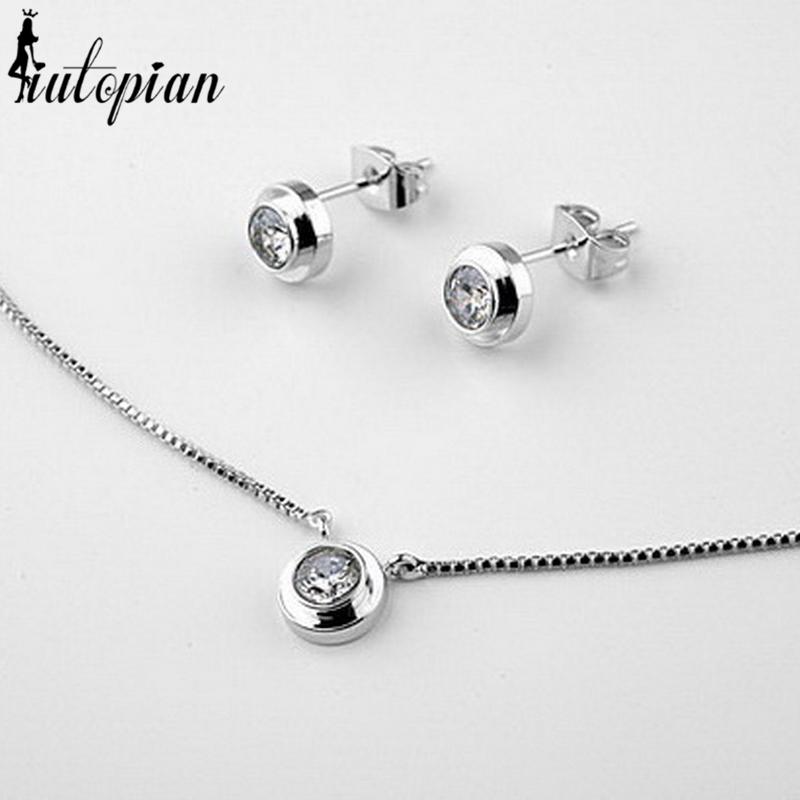 Simple round pendant necklace and earrings set iutopia aloadofball Images