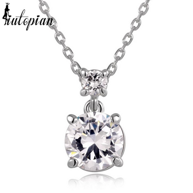 Simple diamond pendant necklace iutopia simple single diamond silver necklace aloadofball Choice Image