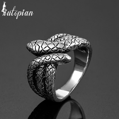 snake silver punk retro ring