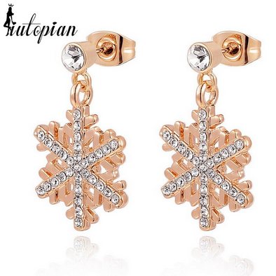 snowflake fold dangle earrings with diamonds