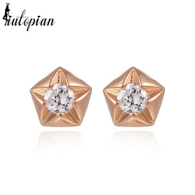 star studded gold earrings with stones