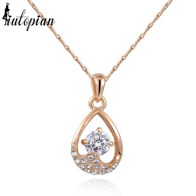 teardrop crystal gold necklace with stones
