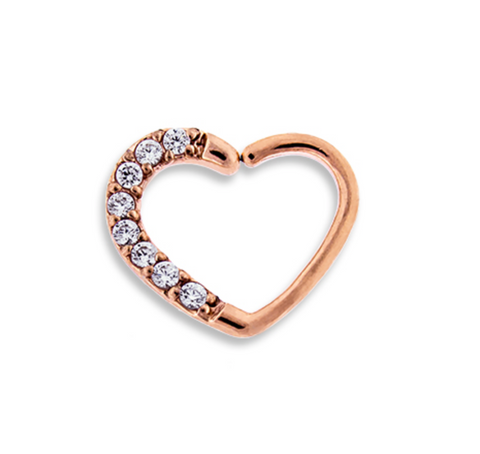 Rose Gold Jeweled Daith Heart