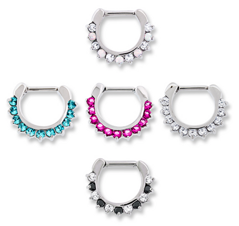 Prong-set Jeweled Septum Clicker