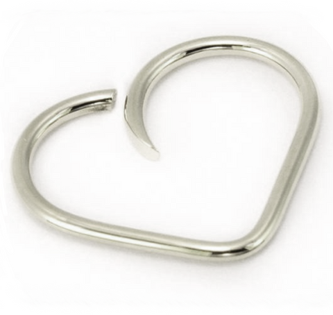 Solid 14kt White Gold Daith Heart