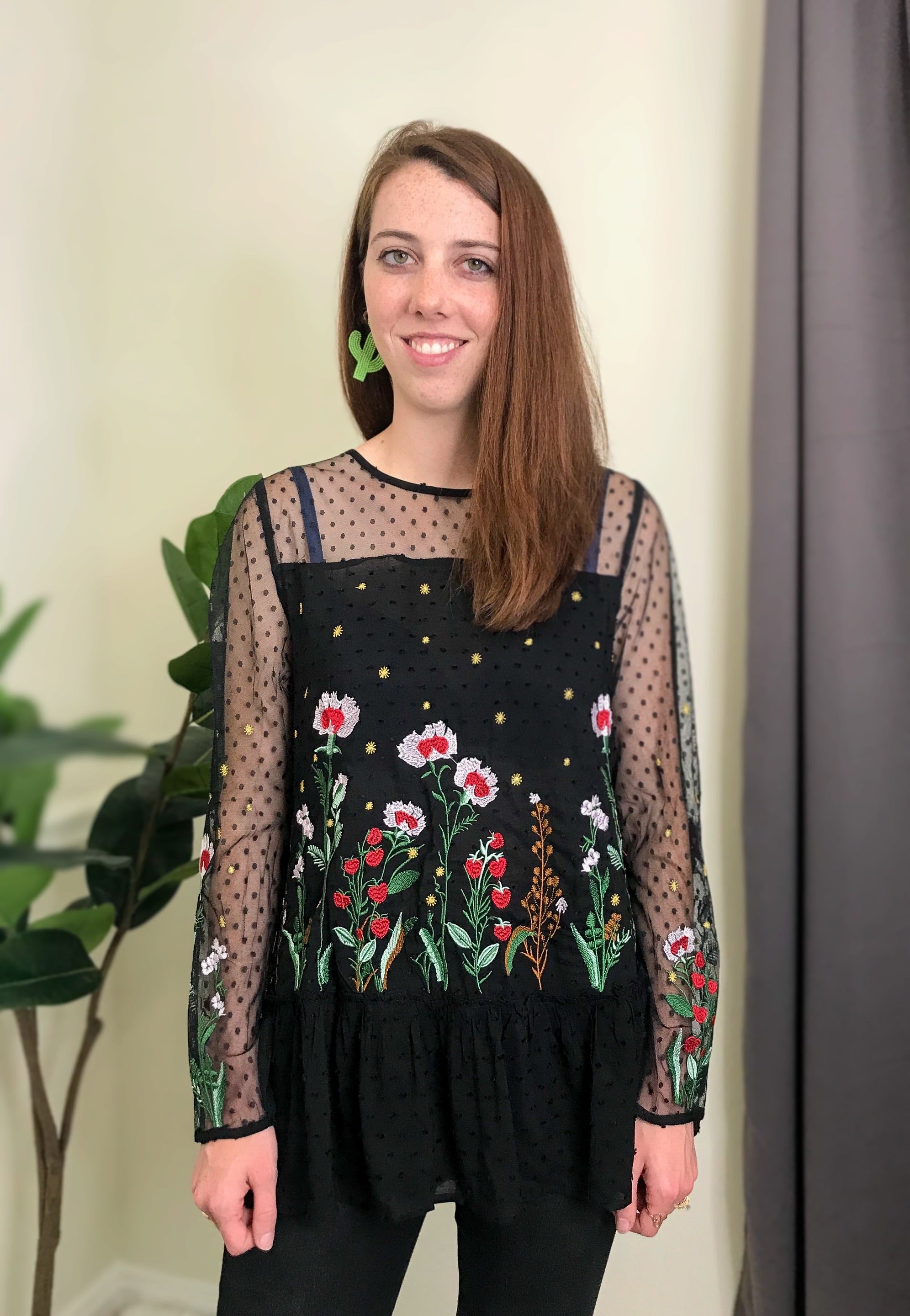 Dessert Blossom Embroidered Top