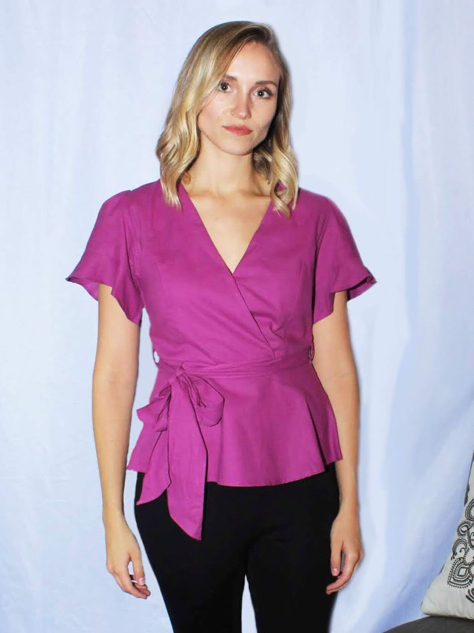 So Chic Magenta Peplum Top