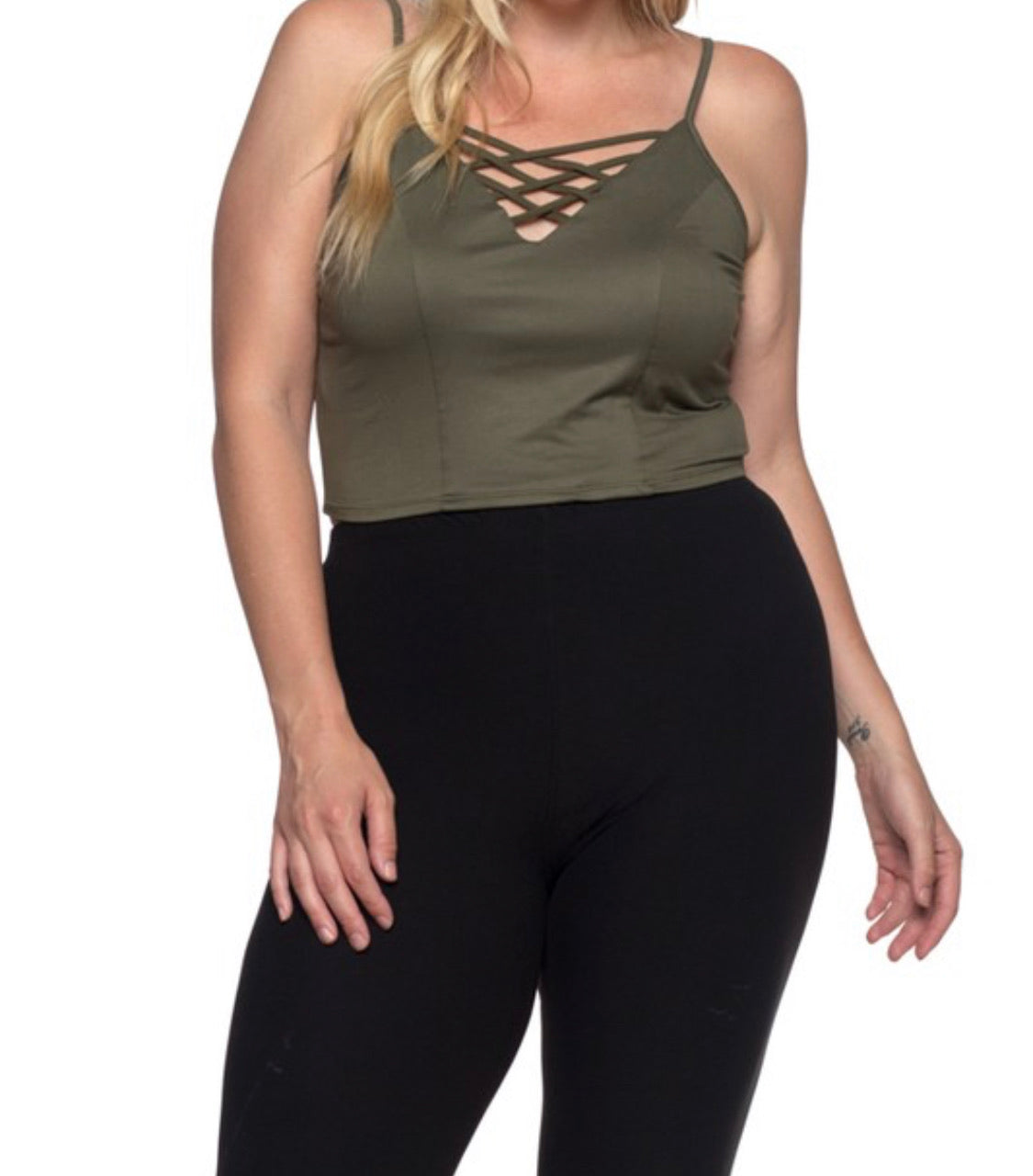 Slay All Day Olive Curvy Bralette