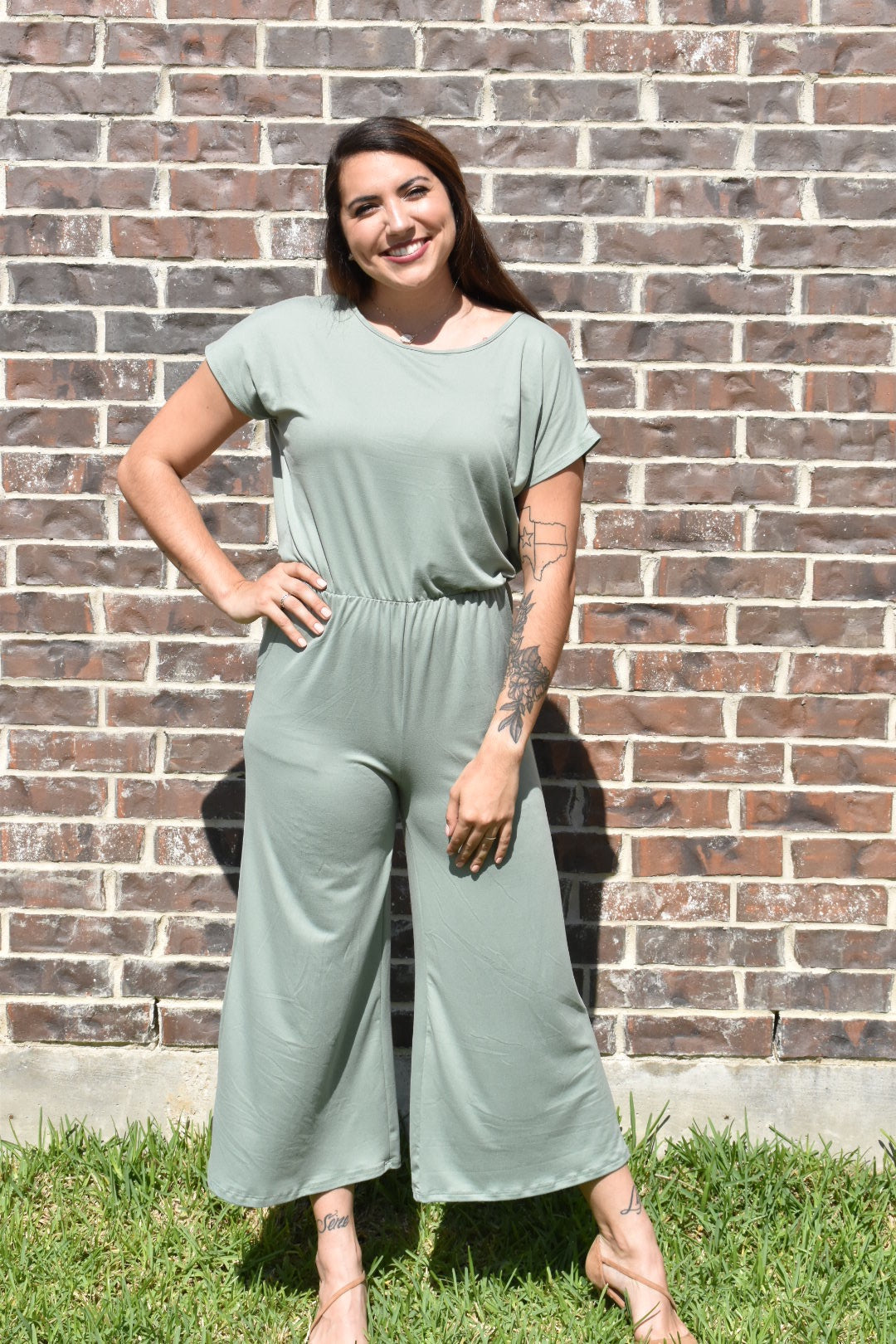 Ryan Open Back Sage Jumpsuit