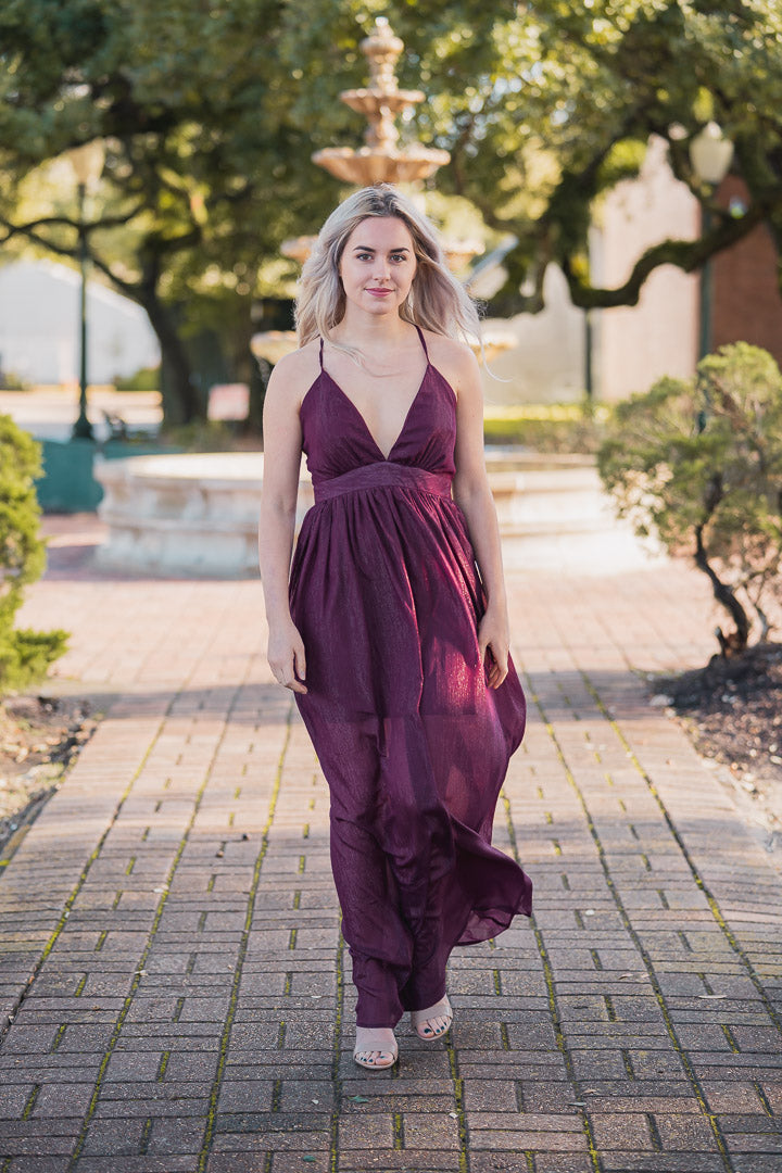 Stand By Me Burgundy Low Cut Maxi Dress