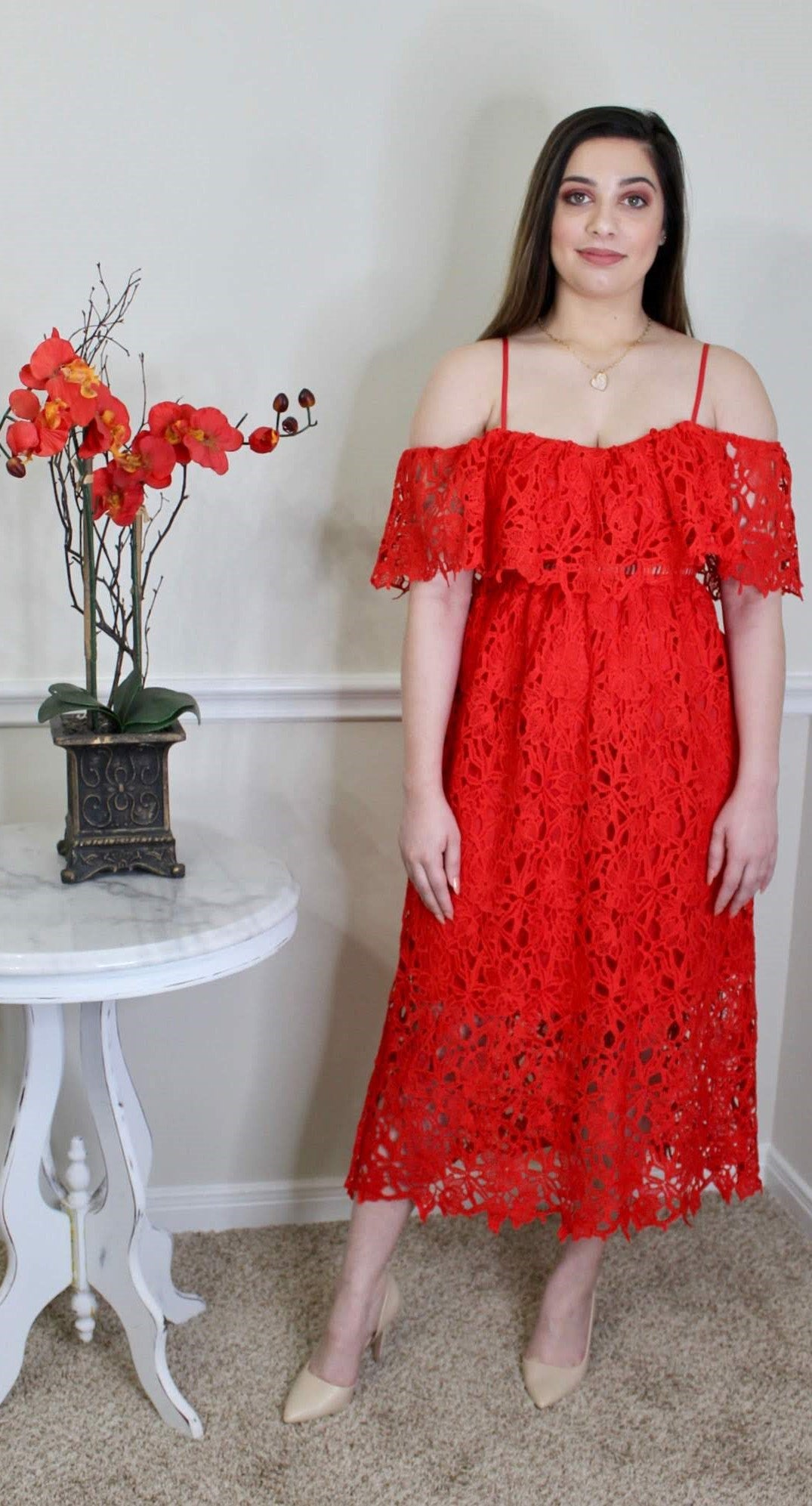 Some Type Of Way Red Midi Dress
