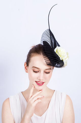 Black Coral Flower Fascinator