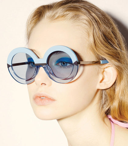 blue sunglasses, round