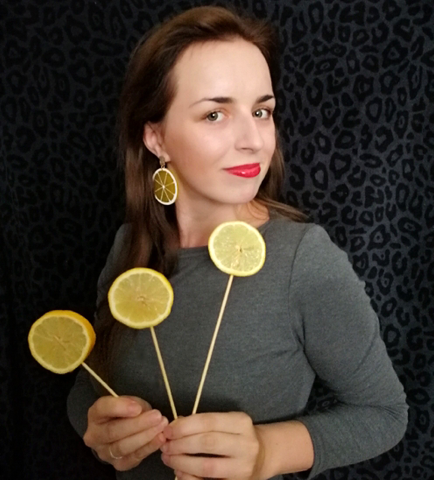 Yellow lemon earrings