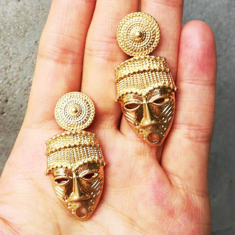 Native African Mask Gold Earrings