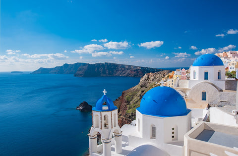 blue dome, santorini, greece